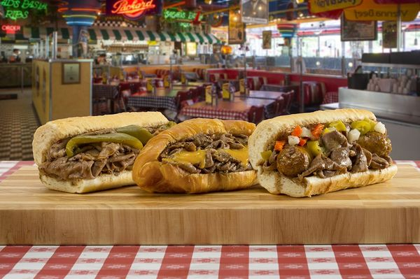 Tasting Chicago Wieners at Portillo's Tampa Florida